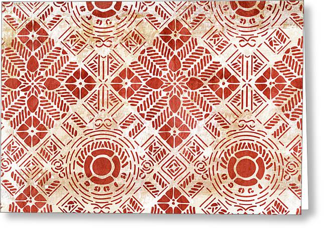 Decorative Vintage Pattern Sanguine Red Greeting Card by Frank Tschakert