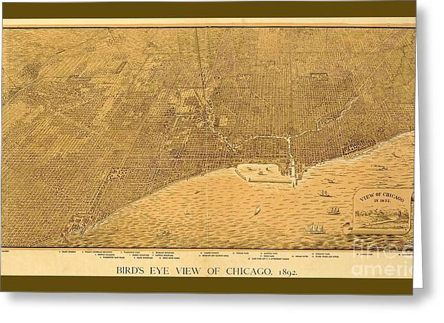Decorative Vintage Sepia Map Of Chicago Greeting Card by Pd