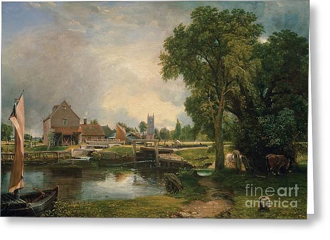 Weired Greeting Cards - Dedham Lock and Mill Greeting Card by John Constable