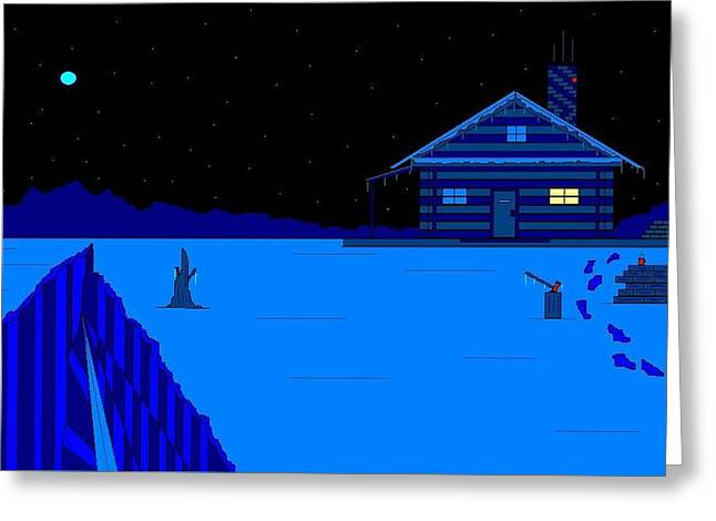Etc. Paintings Greeting Cards - Deep Blue Cold. Greeting Card by Richard Magin