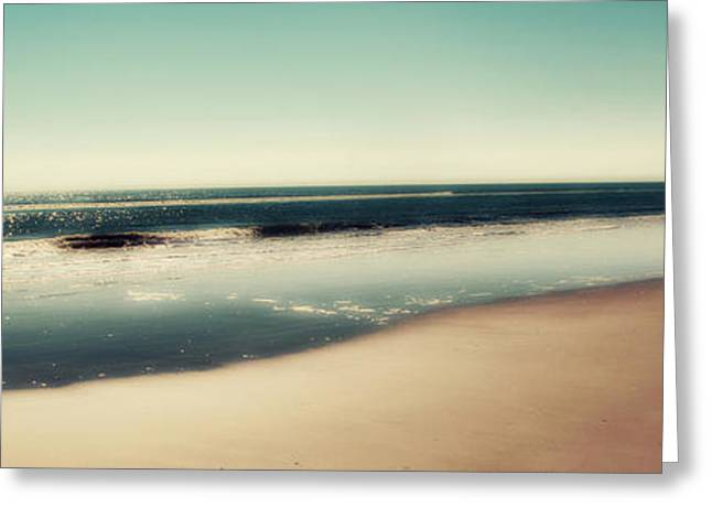 Panoramic Photography Greeting Cards - Deep Blue Sea Panoramic Greeting Card by Amy Tyler