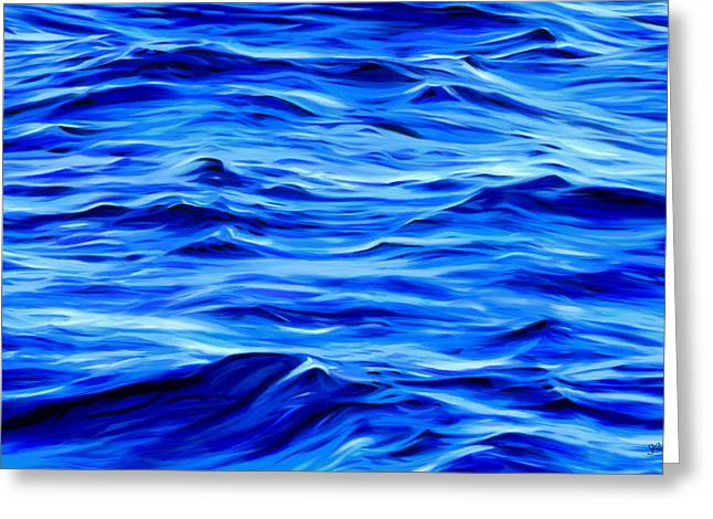 Calm Waters Mixed Media Greeting Cards - Deep Blue Greeting Card by Sue  Brehant