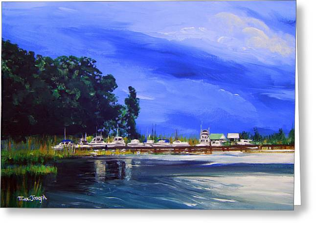 Deep Blue River Greeting Cards - Deep Creek Stormclouds Greeting Card by Terry Cox Joseph