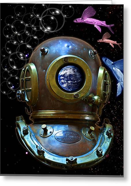 Metal Fish Art Photography Greeting Cards - Deep diver in delirium of blue dreams Greeting Card by Pedro Cardona