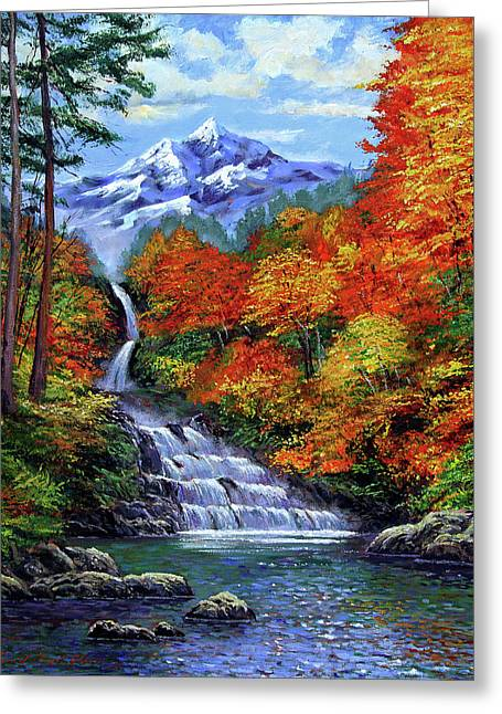 Most Greeting Cards - Deep Falls in Autumn Greeting Card by David Lloyd Glover