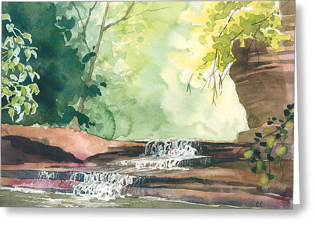 Cavern Greeting Cards - Deep Forest Waterfall Greeting Card by Christine Camp