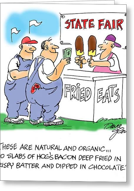 Cartoon Drawings Greeting Cards - Deep Fried Stuff Greeting Card by David Lloyd Glover