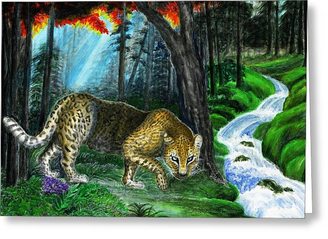 Leopard Running Greeting Cards - Deep In Jungle - leopard  Greeting Card by Zong Yi