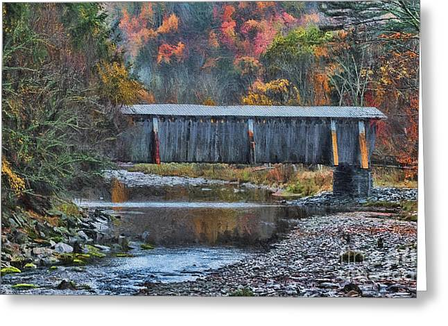 Covered Bridge Greeting Cards - Deep In The Catskills Greeting Card by Deborah Benoit