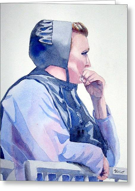Amish Greeting Cards - Deep in Thought Greeting Card by Marsha Elliott
