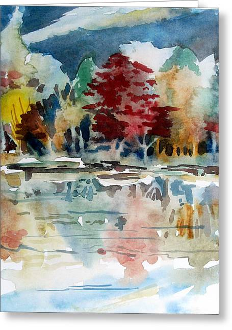 Fall Trees Drawings Greeting Cards - Deep Into Autumn Greeting Card by Mindy Newman