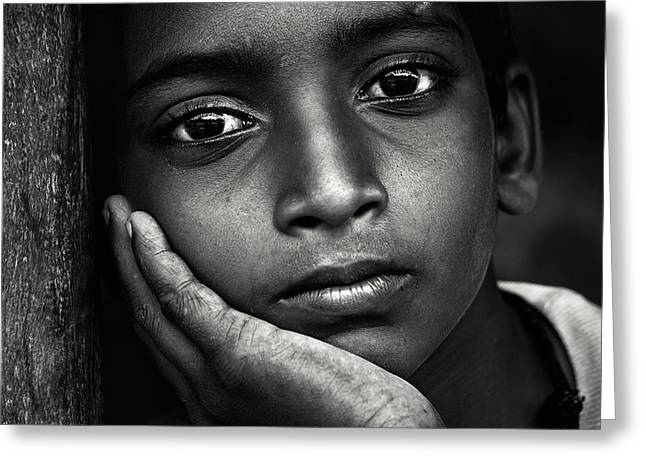 Kid Greeting Cards - Deep Look Greeting Card by Mahesh Balasubramanian