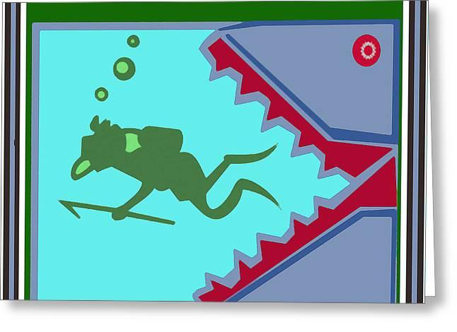 Swimmers Mixed Media Greeting Cards - Deep Sea Divers and the Shark Teeth Kids room fun art Greeting Card by Navin Joshi
