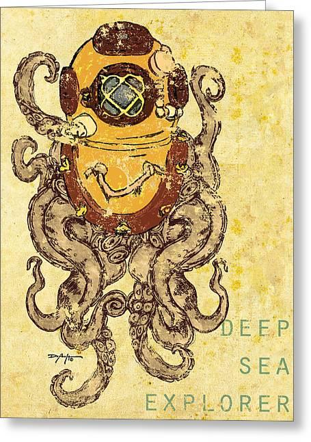 Diving Helmet Mixed Media Greeting Cards - Deep Sea Explorer Greeting Card by William Depaula