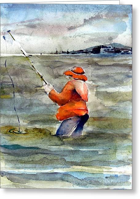 Wade Mixed Media Greeting Cards - Deep Sea Fisherman Greeting Card by Mindy Newman