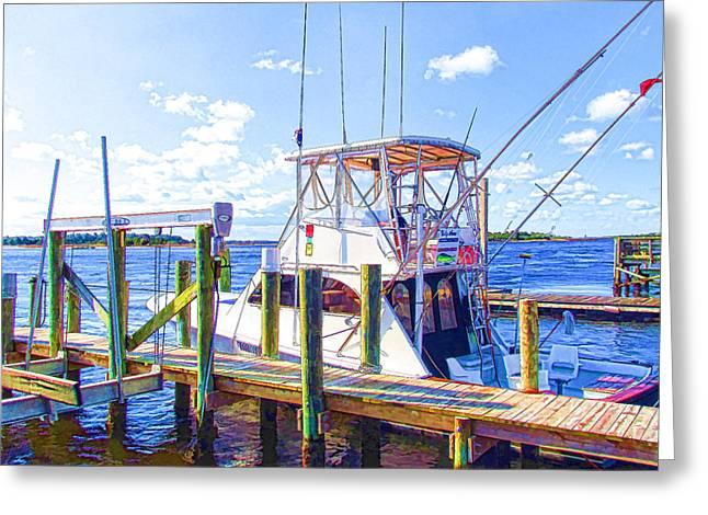 Boats In Reflecting Water Paintings Greeting Cards - Deep Sea Fishing Boats in Swansboro North Carolina 2 Greeting Card by Lanjee Chee