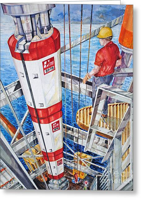 Sea Platform Paintings Greeting Cards - Deep Sea Floats Greeting Card by P Anthony Visco