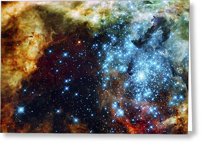Hubble Photographs Greeting Cards - Deep Space Fire and Ice 2 Greeting Card by The  Vault - Jennifer Rondinelli Reilly