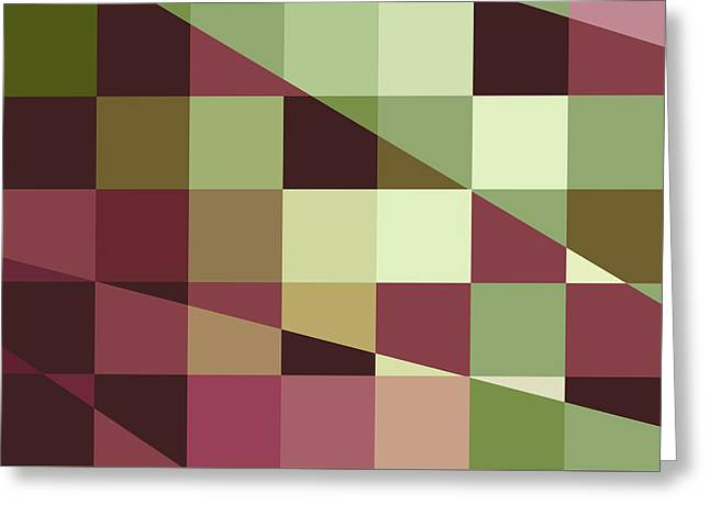 Red Abstracts Greeting Cards - Deep Tuscan Red Purple and Green Abstract Low Polygon Background Greeting Card by Aloysius Patrimonio