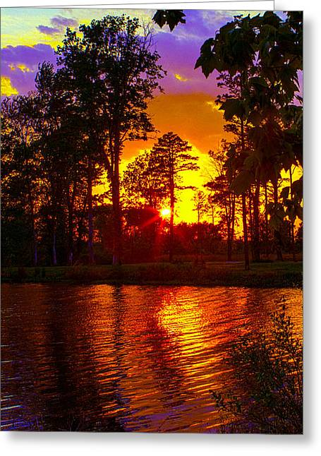 Wildlife Refuge. Greeting Cards - Deep Water Sunset Greeting Card by Jeff Kurtz
