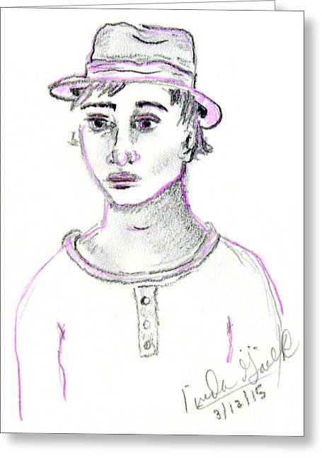 Pensive Drawings Greeting Cards - Deep Within Greeting Card by Linda Gail