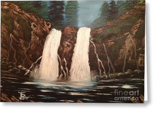 Bob Ross Paintings Greeting Cards - Deep Woods Waterfall Greeting Card by Tim Blankenship