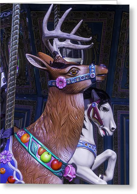 Deer And Horse Ride Greeting Card by Garry Gay
