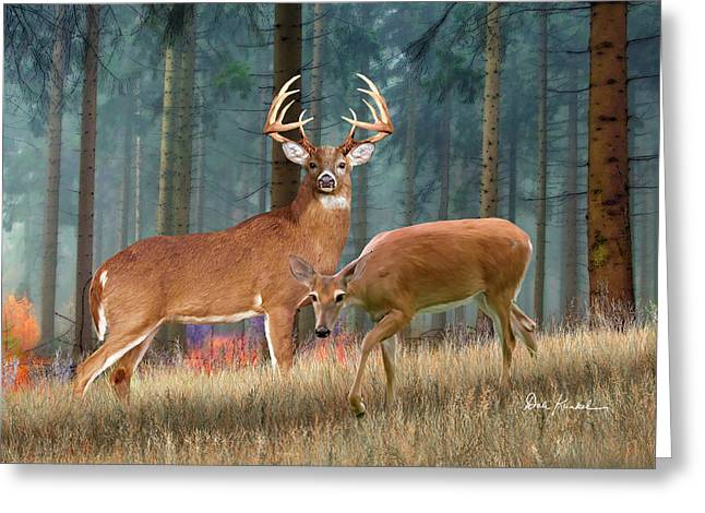 Deer Art - King Of The Forest Greeting Card by Dale Kunkel Art