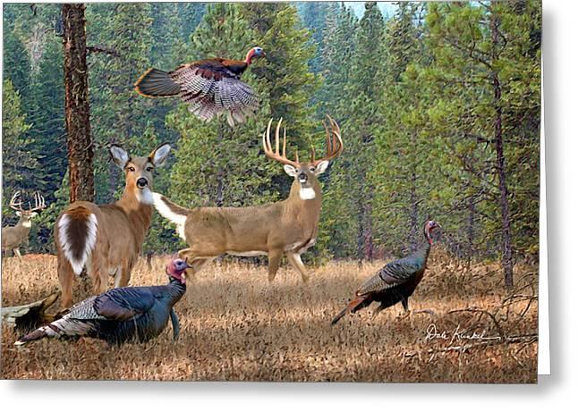 Deer Art - The Gathering Greeting Card by Dale Kunkel Art