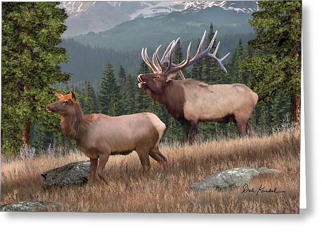 Deer Art - The Mighty Elk Greeting Card by Dale Kunkel Art