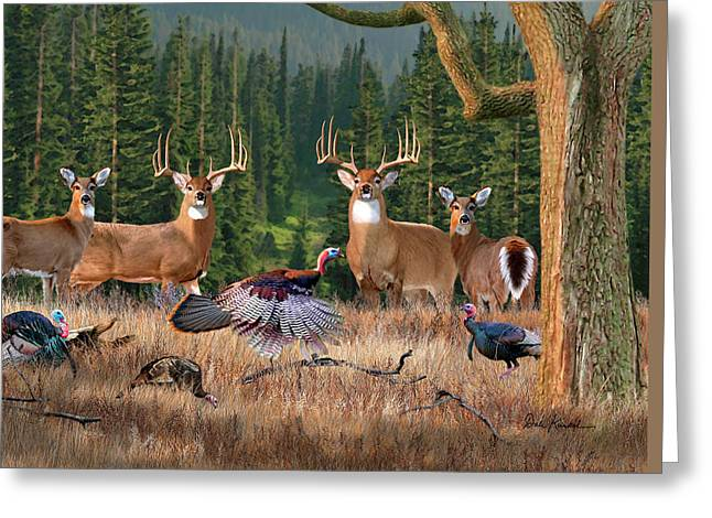 Deer Art - Whitetail Kings Greeting Card by Dale Kunkel Art