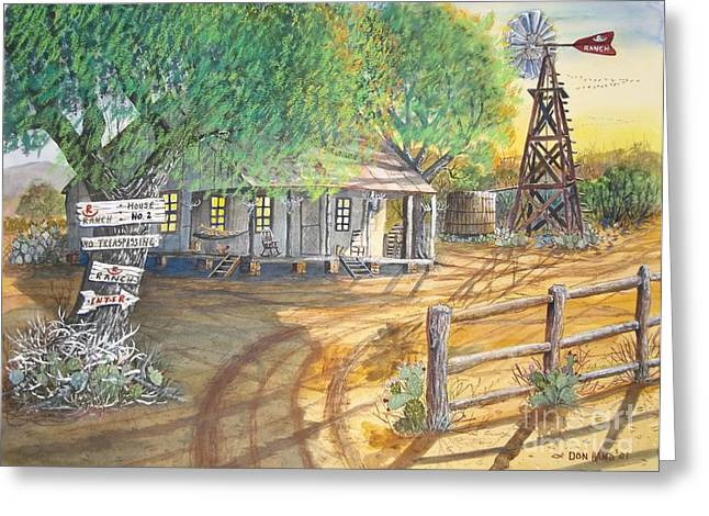 Rocking Chairs Mixed Media Greeting Cards - Deer Camp Greeting Card by Don Hand