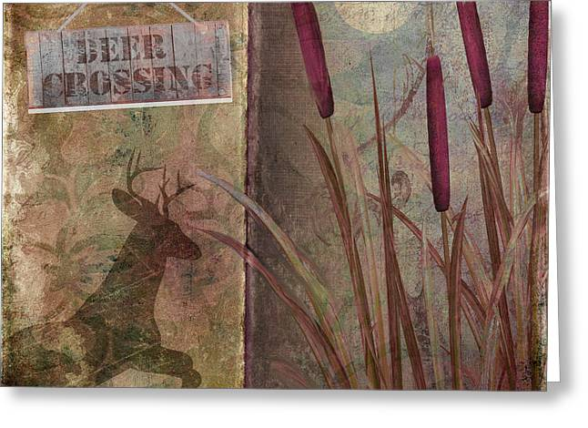 Hunting Cabin Greeting Cards - Deer Crossing  Greeting Card by Mindy Sommers