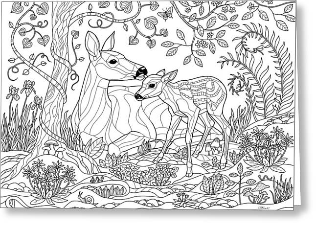 Deer Fantasy Forest Coloring Page Greeting Card by Crista Forest