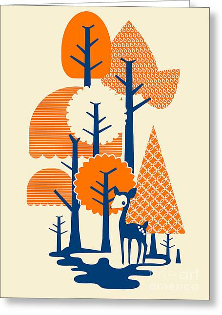Cute Digital Art Greeting Cards - Deer Forester Greeting Card by Budi Kwan