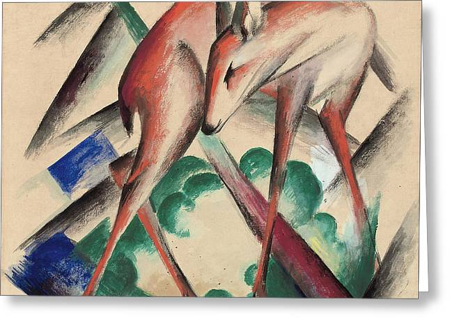 Gouache Abstract Greeting Cards - Deer Greeting Card by Franz Marc