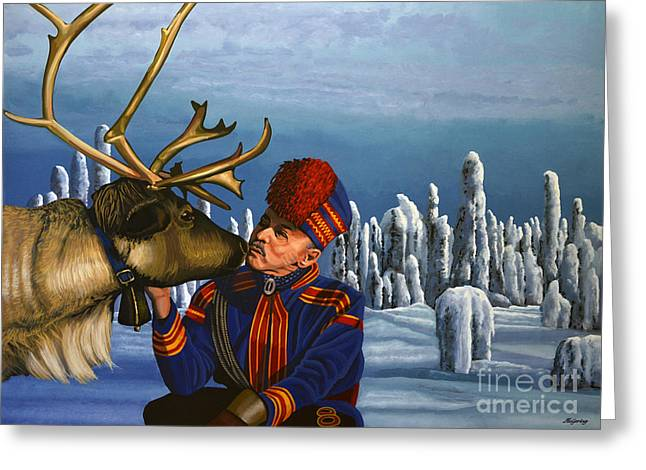 Indigenous Greeting Cards - Deer Friends Of Finland Greeting Card by Paul Meijering