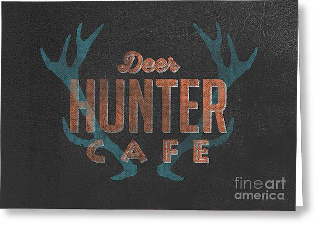 Deer Hunter Cafe Greeting Card by Edward Fielding