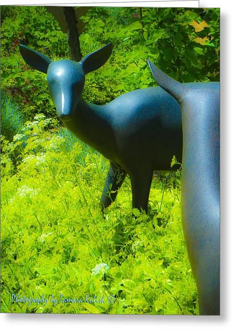 Forgotten Sculptures Greeting Cards - Deer in the Garden Sculpture Greeting Card by Tamara Kulish