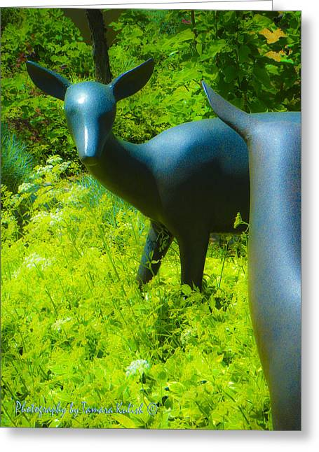 Santa Fe Sculptures Greeting Cards - Deer in the Garden Sculpture Greeting Card by Tamara Kulish