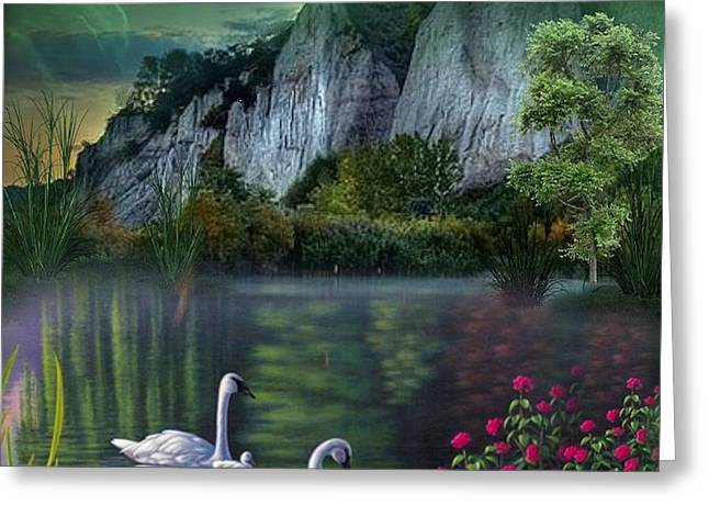 Swan Fantasy Art Greeting Cards - Swans In The Valley Greeting Card by G Berry