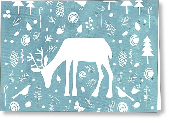 Deer In The Woods Greeting Card by Nic Squirrell