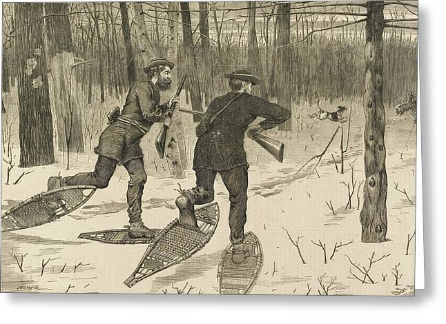 Prairie Dog Reliefs Greeting Cards - Deer-Stalking in the Adirondacks in Winter Greeting Card by Winslow Homer