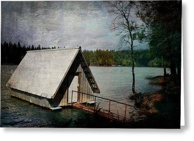 Dee's Little Boat House  Greeting Card by Pamela Patch