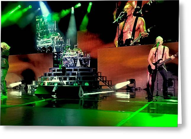 Def Leppard On Stage Greeting Card by David Patterson