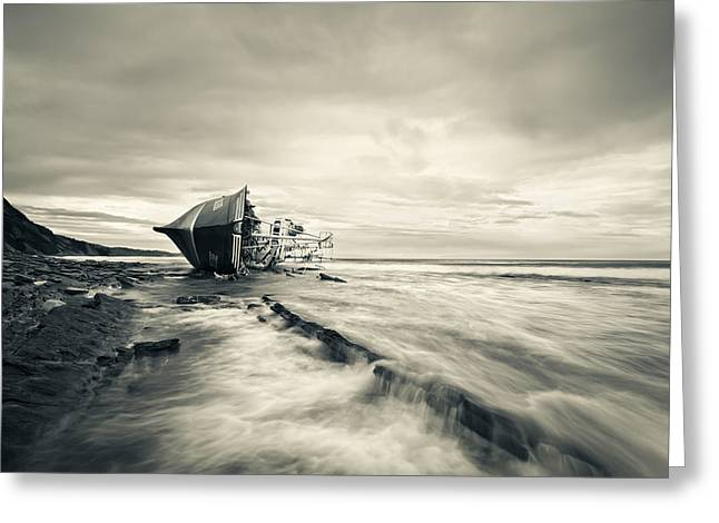 Shipwreck Greeting Cards - Defeated By The Sea Greeting Card by Inigo Barandiaran