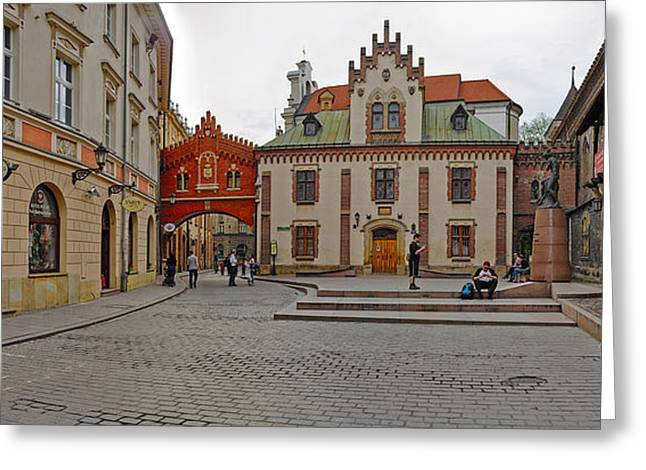 Polish Old Town Greeting Cards - Defensive Walls By Pijarska Street Greeting Card by Panoramic Images