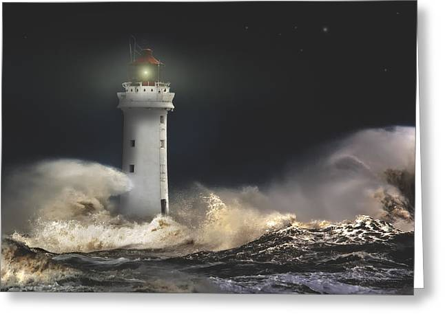 Storm Prints Greeting Cards - Defiance Greeting Card by Rob Lester Wirral