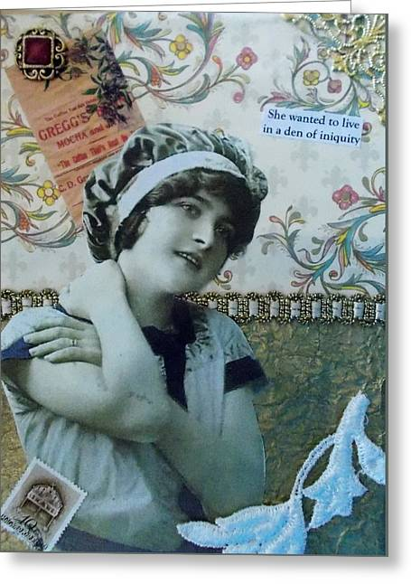 Best Friend Greeting Cards - Definitely a Sinner Greeting Card by Lin Collette