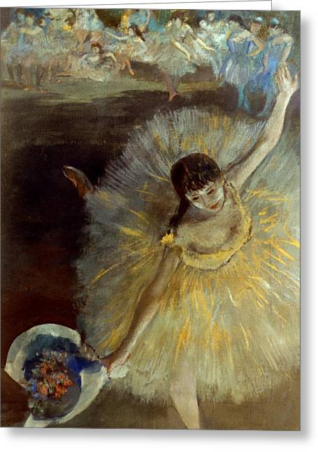 Pastel Portrait Greeting Cards - Degas: Arabesque, 1876-77 Greeting Card by Granger